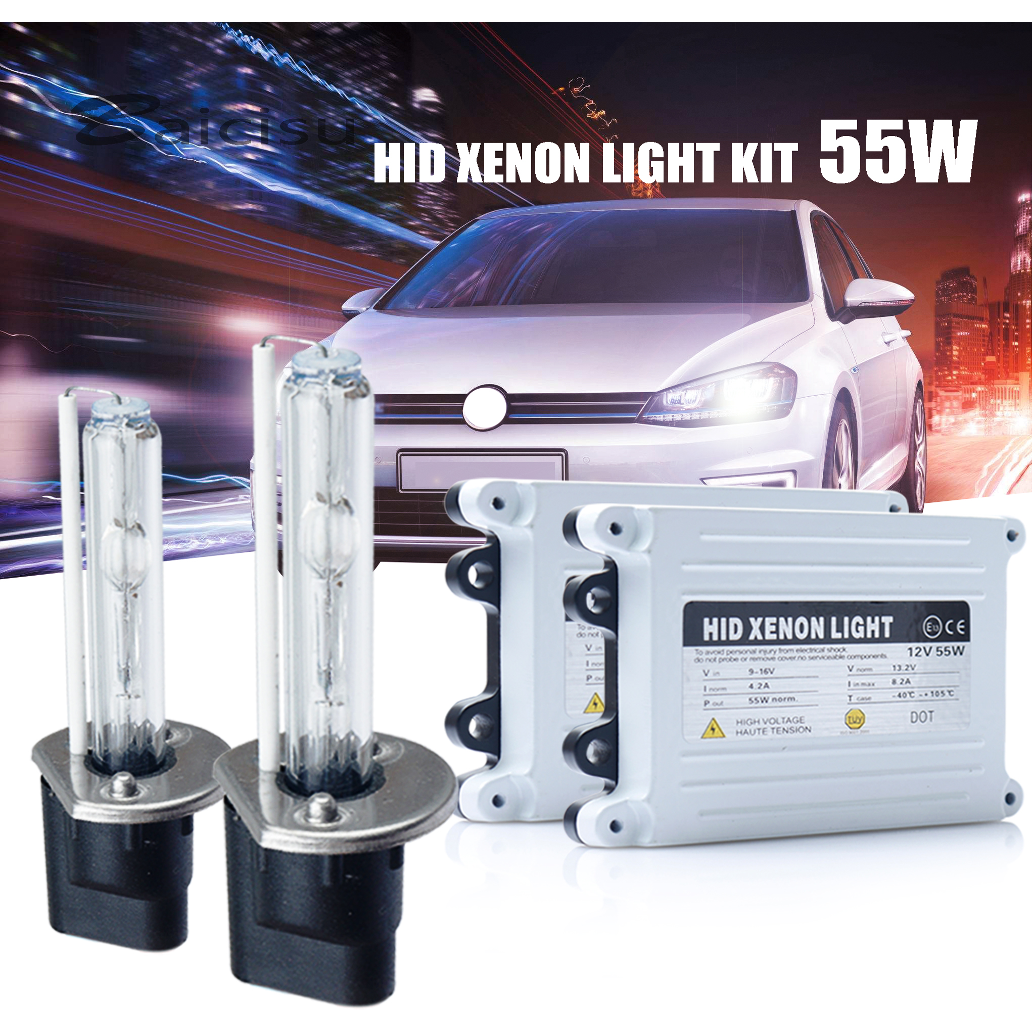 55W HID Xenon <font><b>H7</b></font> Kit 12V AC Fast Start Hid <font><b>H7</b></font> Xenon Kit 55W H1 H3 H4 H11 9005 9006 H27 For Car Headlight 5000k 6000k 8000k 12V image