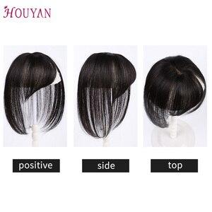 Image 5 - Houyan 黒ブラウン本物の人間の髪 3D 前髪クリップ前髪 100% 人毛前髪クリップワンピース striaght フリンジかつら