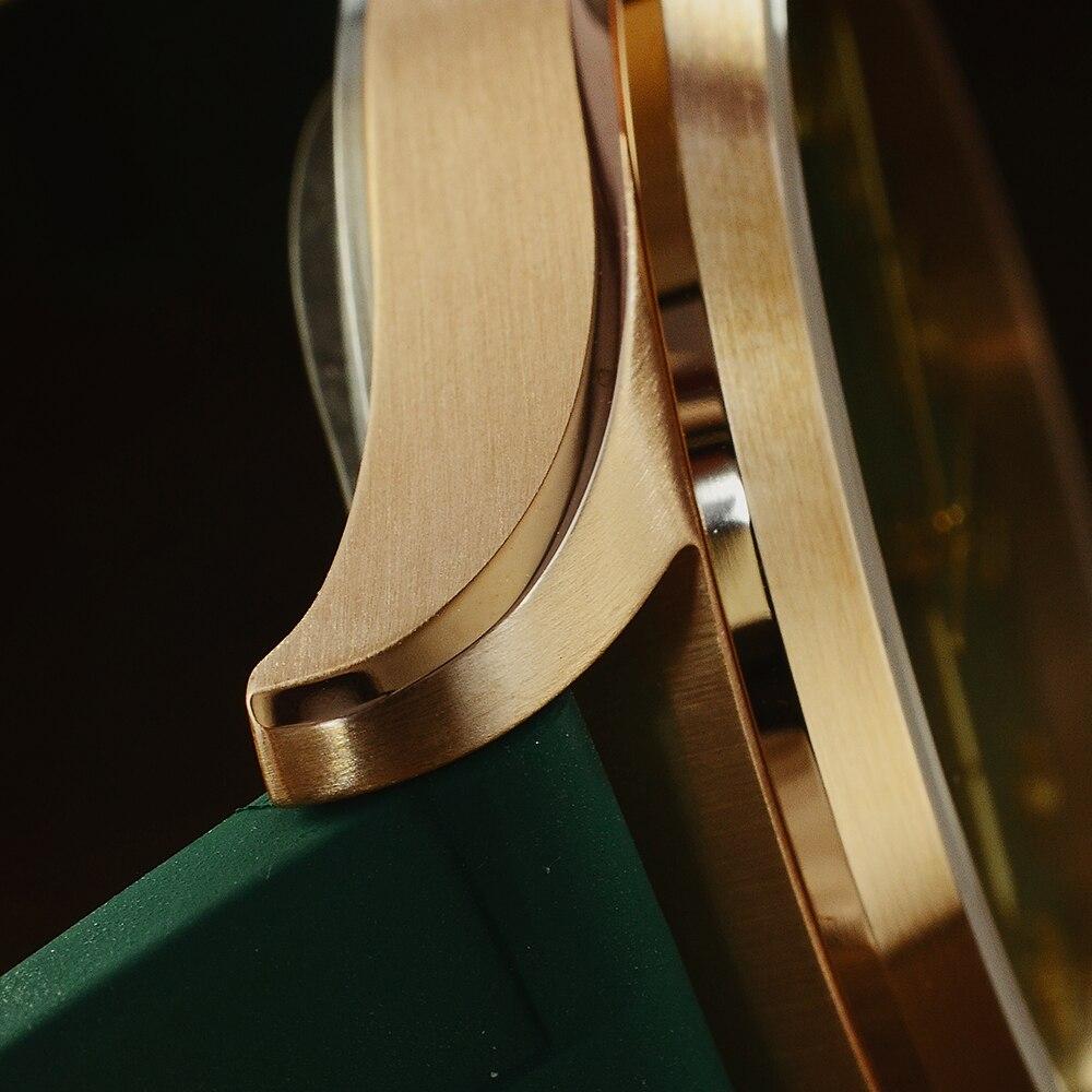 Image 3 - San Martin Diver Retro Tin Bronze Men Automatic Mechanical Watch Fluoro Rubber Sapphire See through Case Back LuminousSports Watches   -
