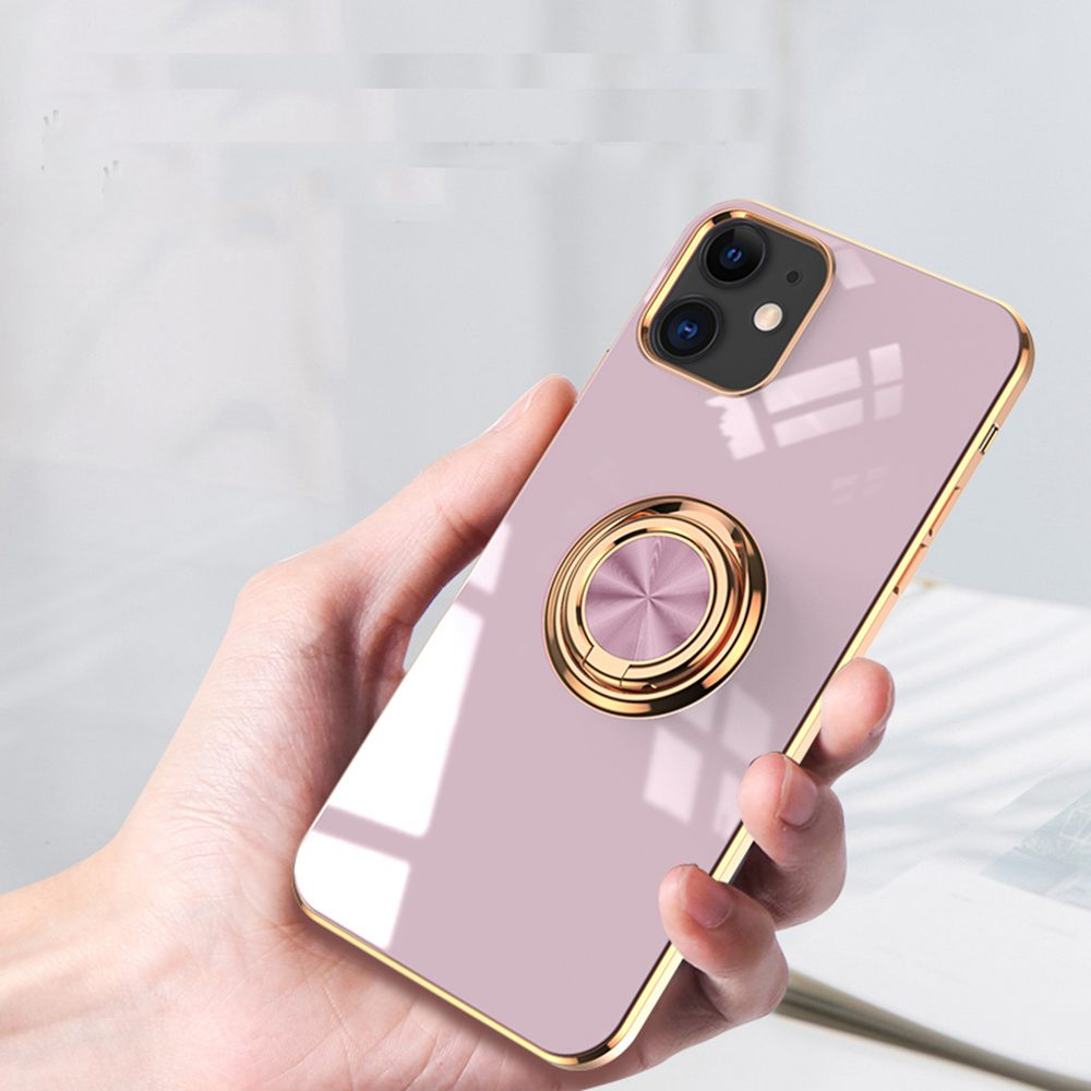 6D Plating Gold Frame Soft TPU Ring Stand Case for iPhone 12 Mini