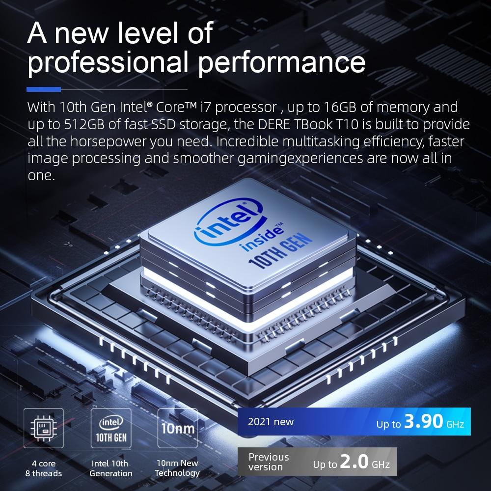 "Dere TBook T10 15.6"" Intel Core I7-1065G7 Touch Bar Laptop 16GB 512GB SSD Windows 10 FHD Backlit keyboard 2.4G+5G Wifi Laptops-1"