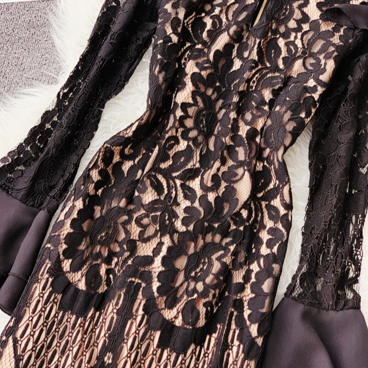 Vintage Bodycon Black Lace Dress 13