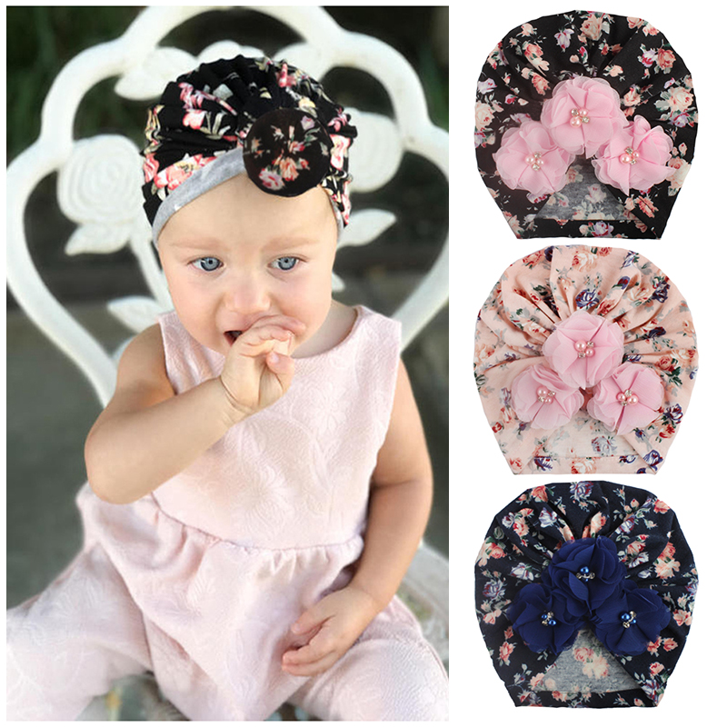 new-baby-hats-for-children-soft-fiber-newborn-girls-infant-turban-headband-toddler-pearl-floral-printed-hats-hair-accessories