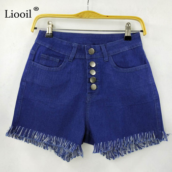 Liooil Black White Red Denim Shorts 2020 Cotton High Waisted Button Pockets Skinny Women Shorts Summer Sexy Jean Shorts 8