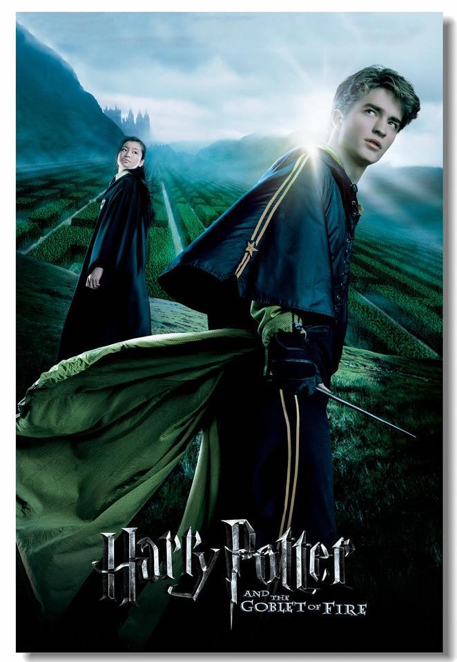 Custom Canvas Wall Art HP4 Movie Poster Cho Chang Cedric Diggory Wall Sticker Robert Pattinson