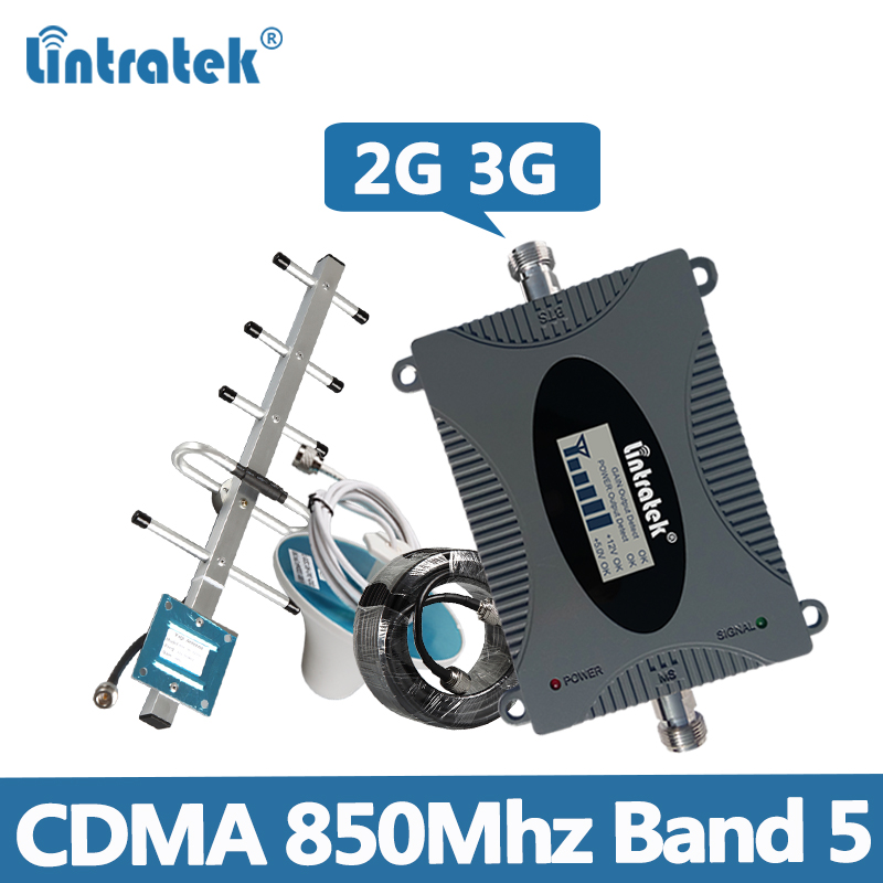 Lintratek Repetidor 850MHz CDMA Signal Booster 2G 3G 850 Band 5 Mobile Phone Signal Amplifier GSM UMTS Repeater With Antenna