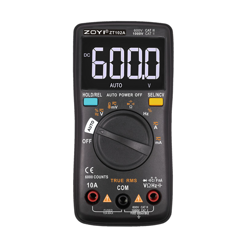 ZOYI ZT102A Auto Functional Multimeter 6000 Counts Back Light AC/DC Ammeter Voltmeter Ohm Frequency Diode Temperature Multimeters     - title=