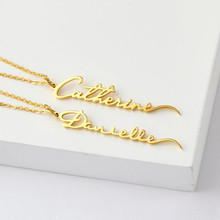 Personalized Signature Name Necklace Customized Vertical Handwriting Nameplate Pendant Stainless Steel Necklace Women Jewelry