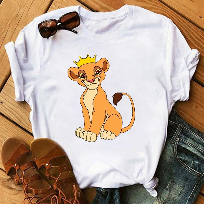 2020 New Summer Women T-shirt Cartoon Lion King Printed Tshirt Fashion Casual Harajuku  Female Cute Tee Woman O Neck Tops