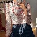 ALLNeon E-mädchen Ästhetik Floral Stich Herz Cropped Tops Y2K Mode Rüschen Lange Hülse T-shirts Süße Vintage Outfits Dünne