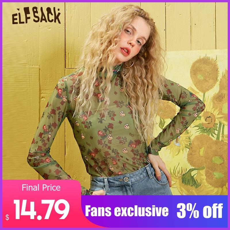 ELFSACK Green Floral Print Chiffon Thin Fishnet Blouse Mesh Women Clothes 2020 Spring Long Sleeve Sexy Ladies Korean Top
