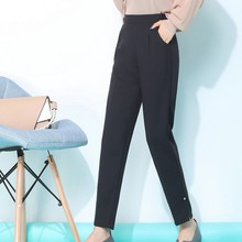 S-3XL High Waist Pants for Women Autumn Straight Zipper Plus Size Womens Trousers Office Female Ankle-length