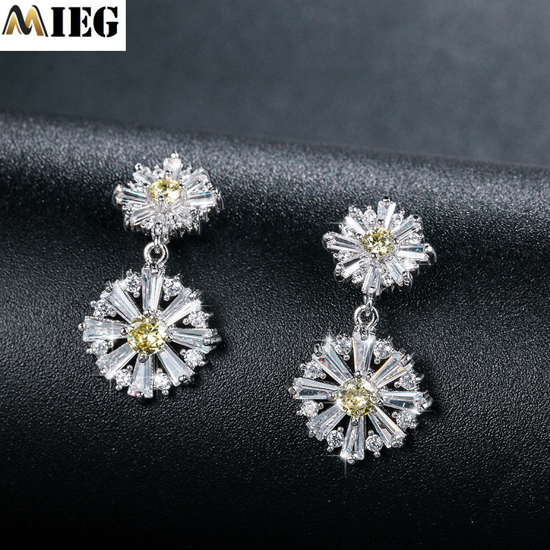 MIEG Sparkling Crystal CZ Drop Studs Earrings Elegant Chic Floral Earings Jewelry For Women Jewelry Gift