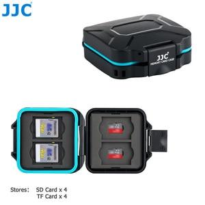 Image 2 - JJC מצלמה זיכרון כרטיס מקרה מחזיק תיבת אחסון ארגונית עבור 4 SD SDHC SDXC 4 מיקרו SD TF כרטיסי עם כרטיס הסרת כלי & שרוך