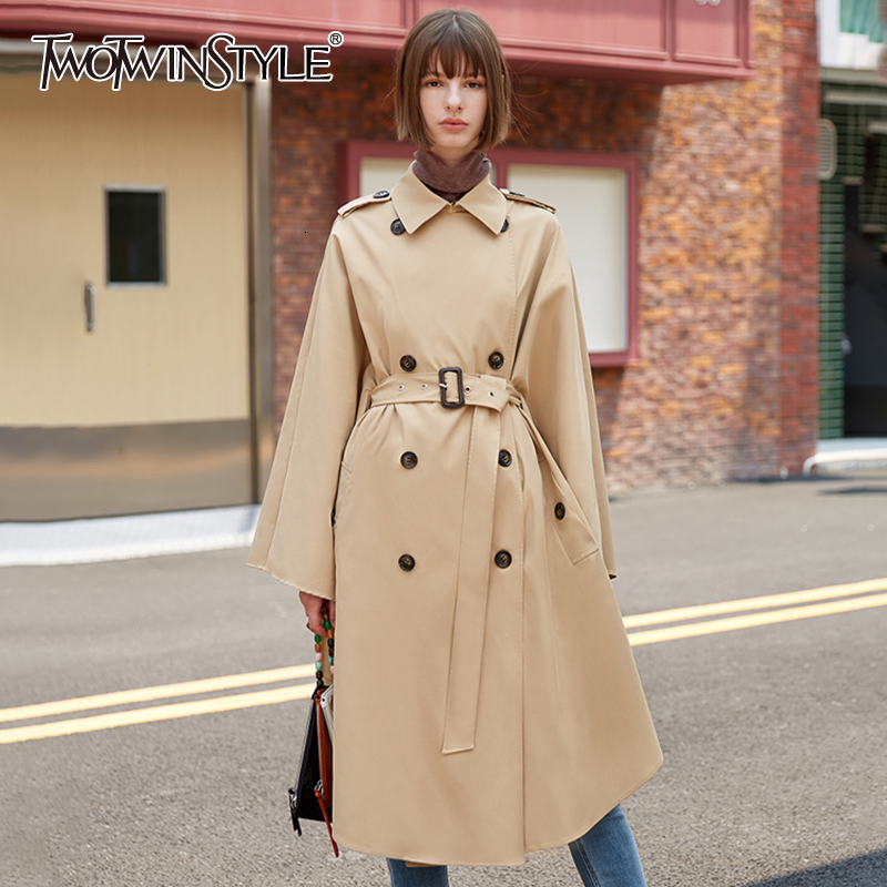 TWOTWINSTYLE Casual Khaki Cloak Windbreaker For Female Lapel Collar Big Cuff High Waist With Sashes Women's Trench Coats Fashion