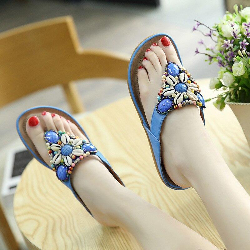 YMECHIC 2018 Summer Women Beach Flip Flops Bead Rhinestone Flat Ladies Slippers Red Blue Large Size 35-45 Bohemia Slides Sandals