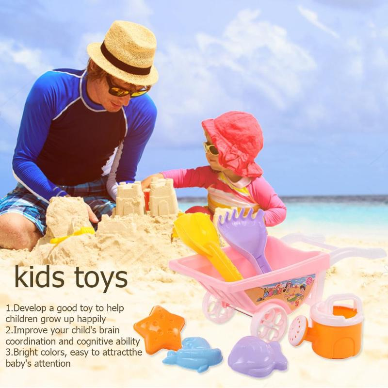 7pcs Colorful Kids Beach Toy Trolley Set With Net Bag Plastic Durable Children Summer Beach Play Sand Water Tools