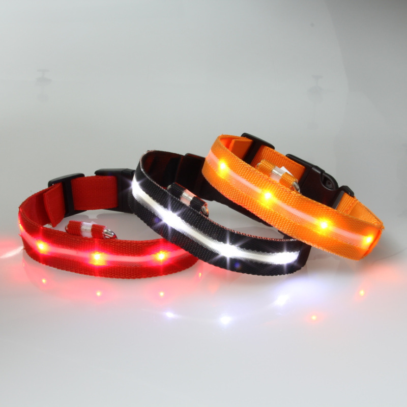 2.5 Cm Pet Supplies Dog Cat Neck Ring LED Shining Light Belt Bandana-Color Mixture