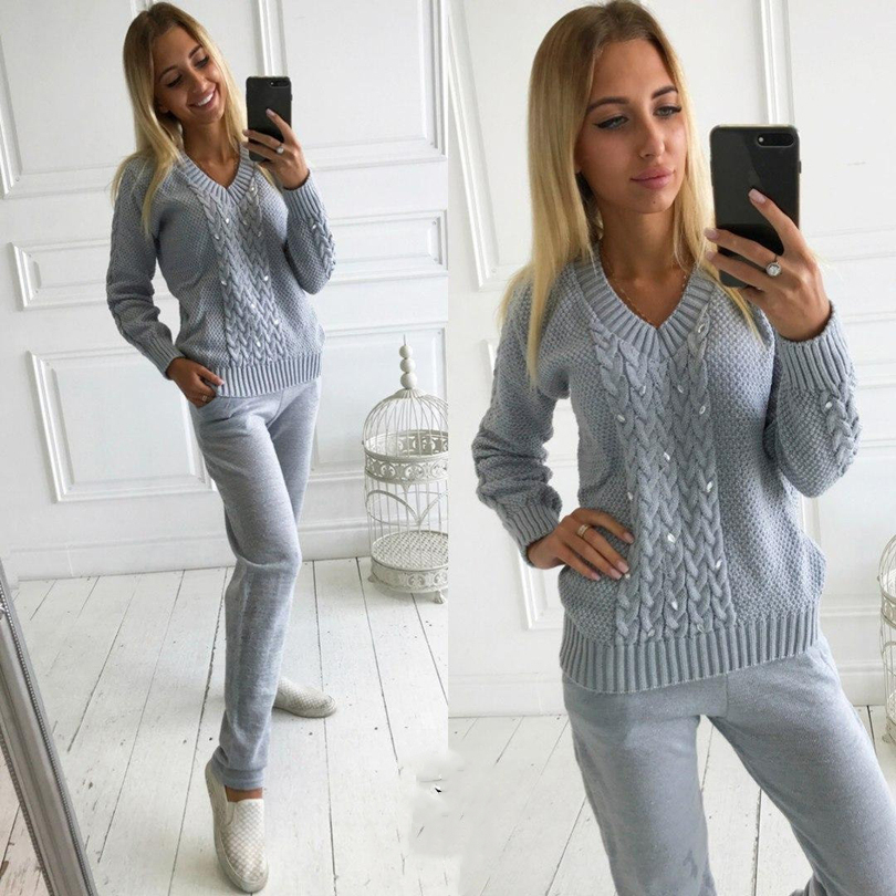 MVGIRLRU Women Knitted 2 Pcs Suits Diamonds V-neck Pullover Sweater And Knit Pant Two Piece Set