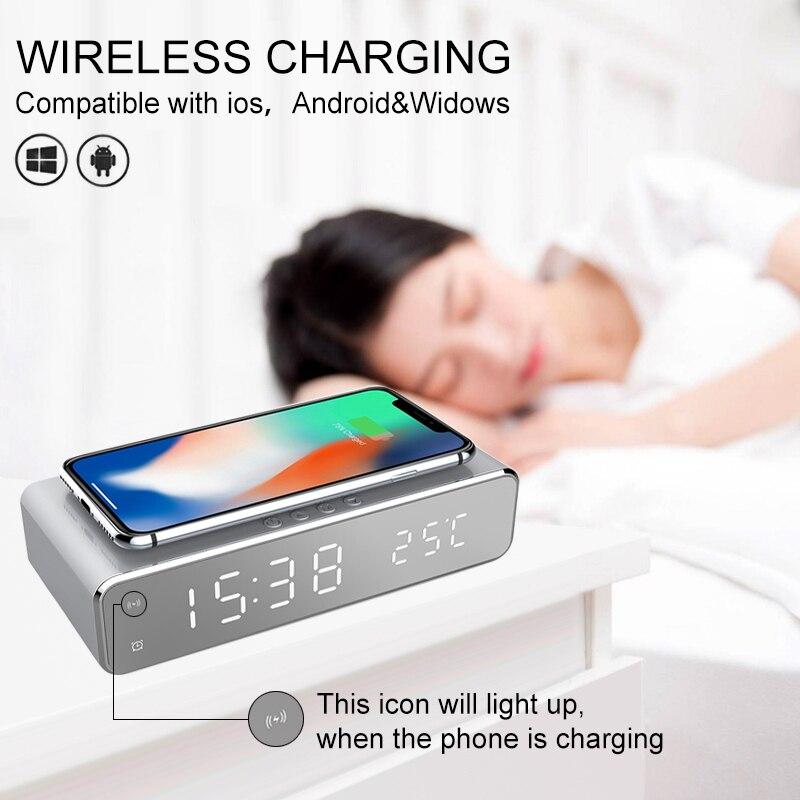 Sveglia elettrica a LED orologio termometro digitale orologio a specchio HD con caricabatterie e data Wireless per telefono 2