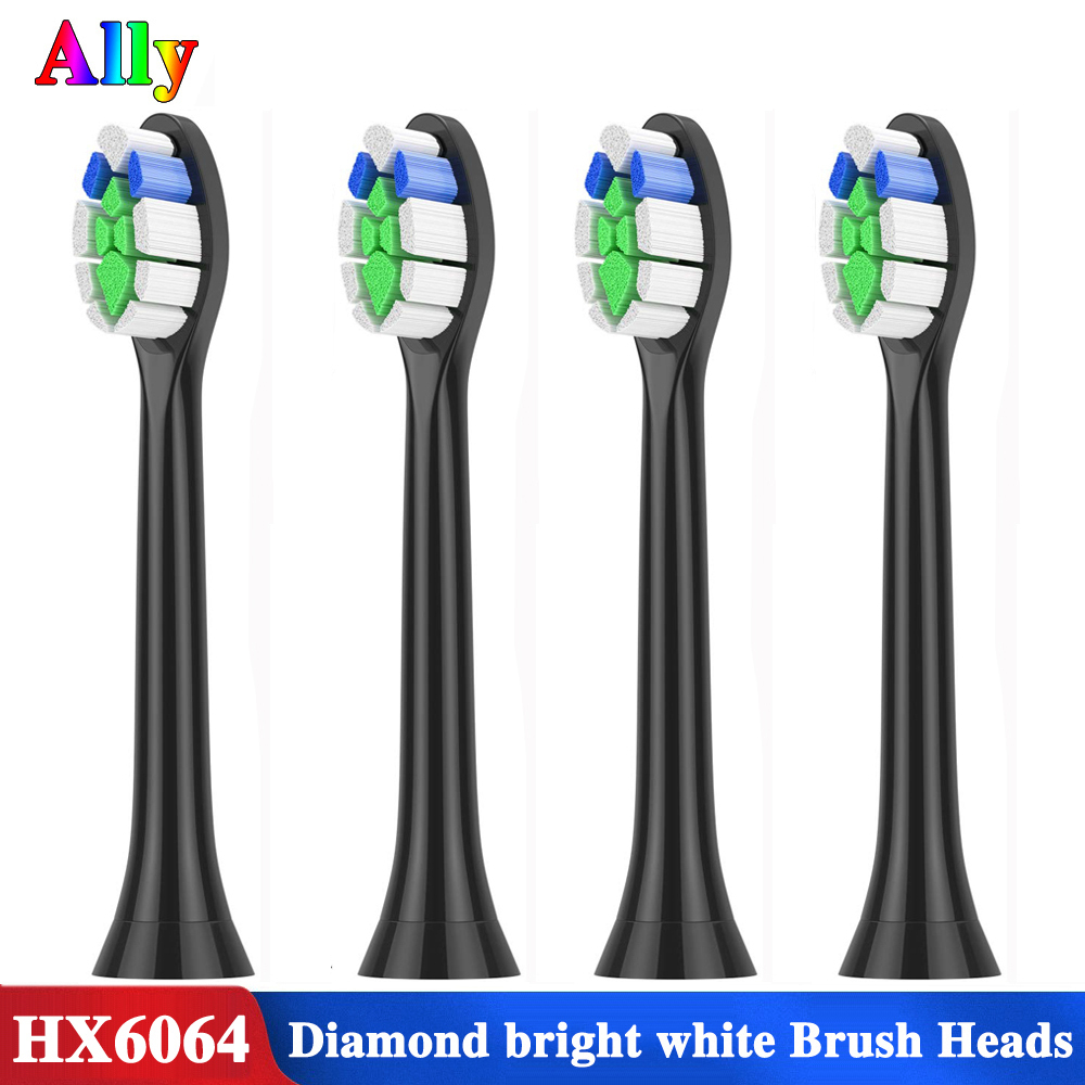 4pcs For Philips Sonicare Diamond Clean ProResults FlexCare HX6064/14 Standard Replacement Electric ToothBrush Heads Black