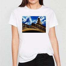 Футболка женская с принтом Эйфелевой башни модный топ круглым