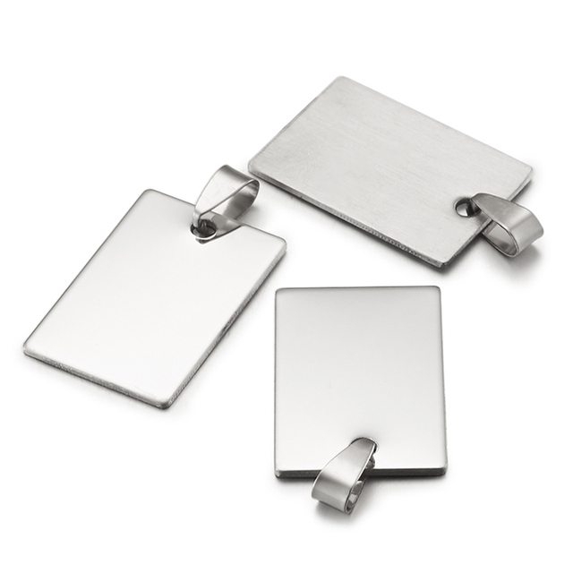 50pcs Stainless Steel Tag Metal Stamping Blank Tags with Snap on Bail for Charm Pendant Jewelry DIY Making Polished