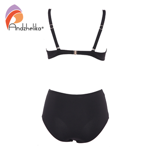 Image 2 - Andzhelika Sexy Bandeau Bikini Set Swimsuit Solid Push Up High waist Bikinis Two piece Beach Bathing Suit plus Size Swimwear