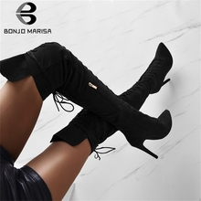 BONJOMARISA New INS 35-47 Sexy lace-up Over The Knee Knight Boots Lady Thigh High Boots Women 2019 Party High Heels Shoes Woman choudory boots women shoes genuine leather thigh high boots sexy fashion over the knee boots shoes woman high hoof heels lace up