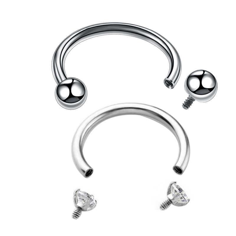 1 PC เหล็กผ่าตัดภายในด้ายแหวนเกือกม้าเจาะหู Tragus แหวนจมูก Hoop Septum เครื่องประดับ