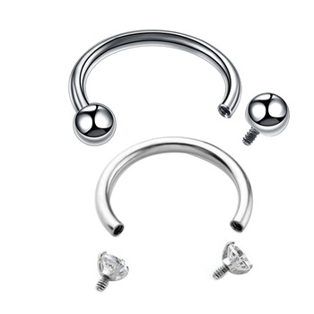 1Pc Surgical Steel Internally Thread  Ball Horseshoe Rings Piercing Ear Tragus Eyebrow Lip Ring Nose Hoop Septum Jewelry