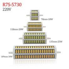 Projecteur de remplacement, Tube LED halogène, 10W 20W 25W 30W R7S lampe à LED 78mm,118mm,135mm,189mm, 220V SMD5730, r7s J118 J78