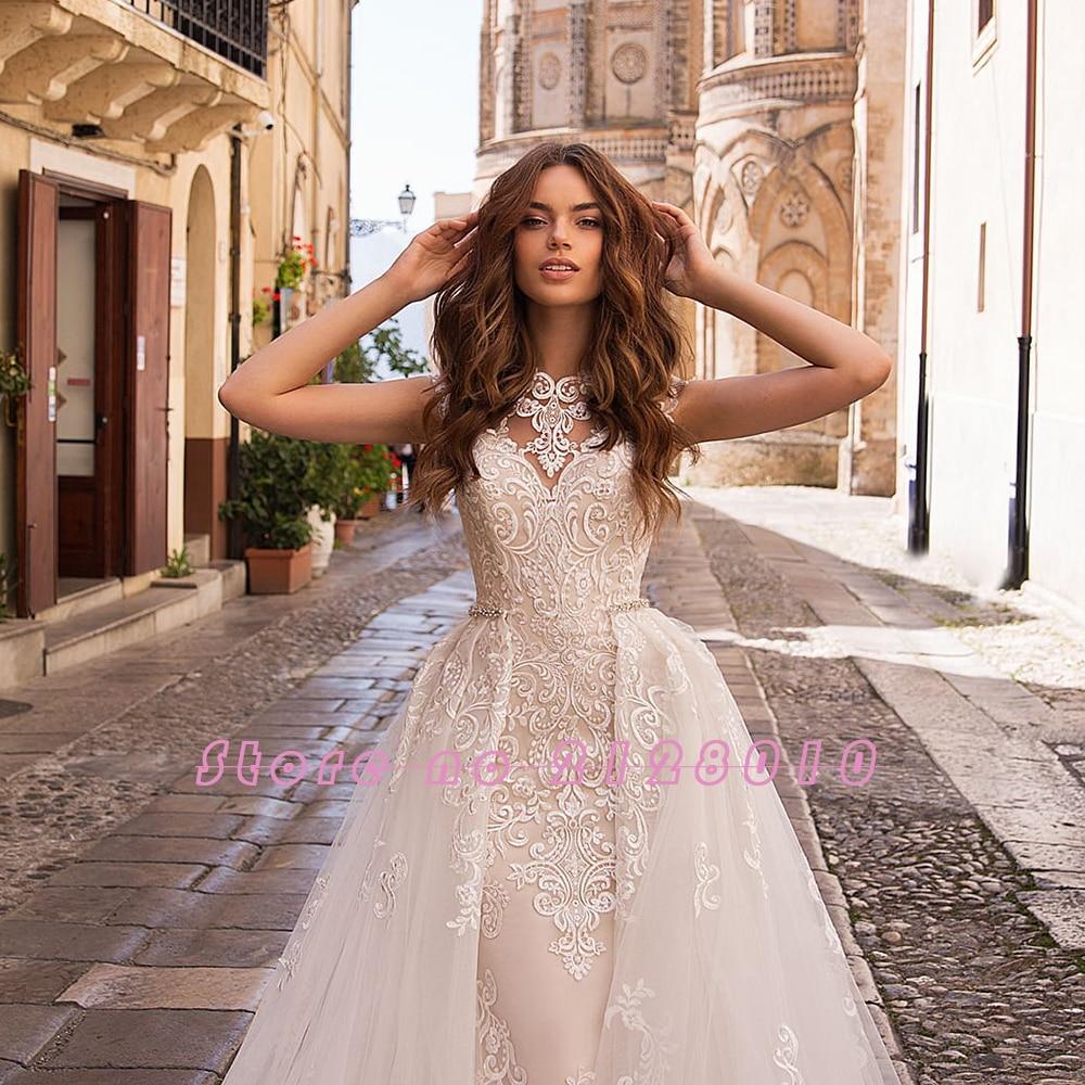 Image 3 - Appliques Lace Mermaid Wedding Dresses With Beading Crystal Removable Train 2020 China Shop Online Vestido De Noiva SereiaWedding Dresses   -