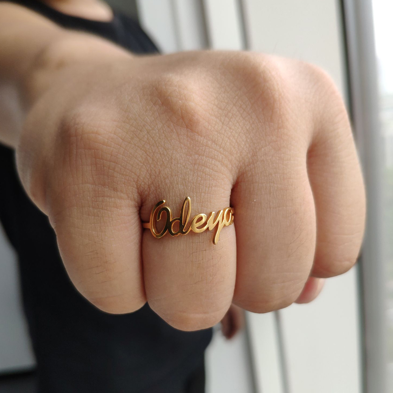 Custom Ring Anillos Mujer Personalized Name Ring Customized Nameplate Jewelry For Couple Stainless Steel Rings For Women Men in Rings from Jewelry Accessories
