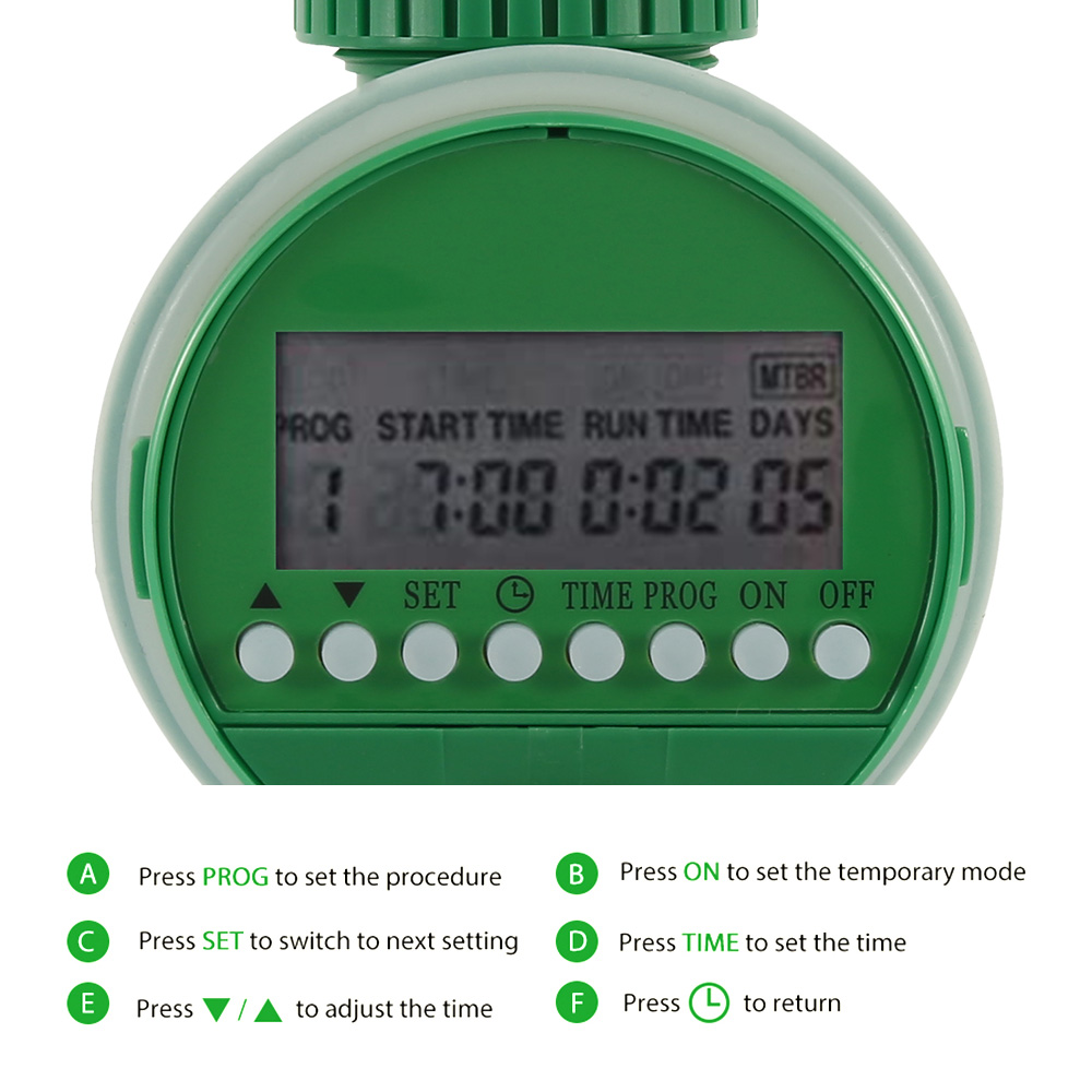 Garden Watering Timer Automatic Electronic Water Timer Home Garden Irrigation Timer Controller System with LCD Display