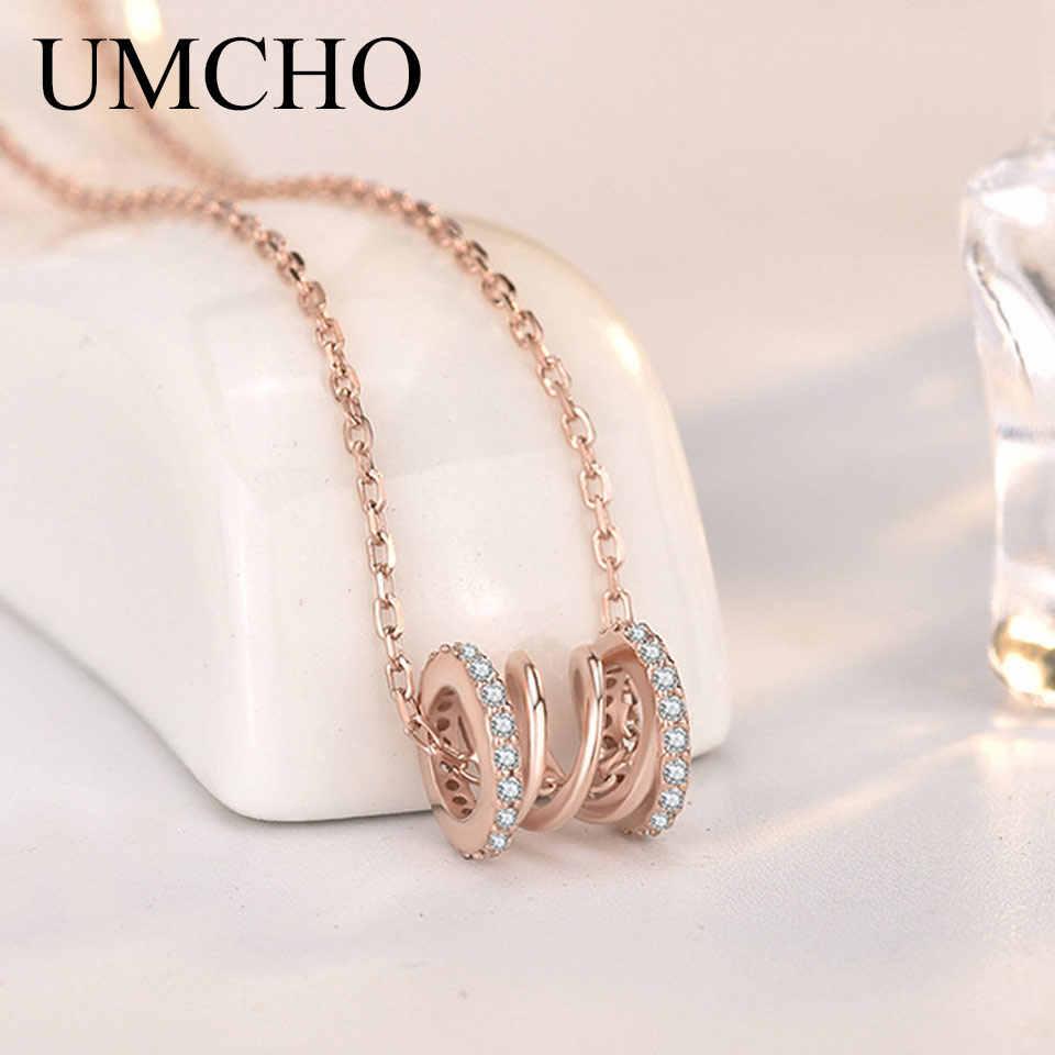 UMCHO Elegant ขนาดเล็ก 925 เงินสเตอร์ลิง S925 จี้สร้อยคอสำหรับผู้หญิง PARTY วันเกิดแฟชั่นเครื่องประดับ