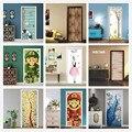 Clássico Europeu Porta Adesivos Para Sala de estar DIY Auto Adesivo Papel de Parede Para Portas de PVC Renovar À Prova D' Água Decalques Art Home Decor