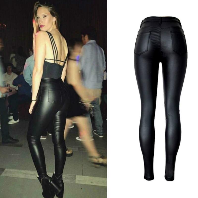 High Waist PU Imitation Leather Jeans Women Fashion Black Elasticity Skinny Jeans Femme Push Up Slim Vaqueros Mujer Pencil Pants 4