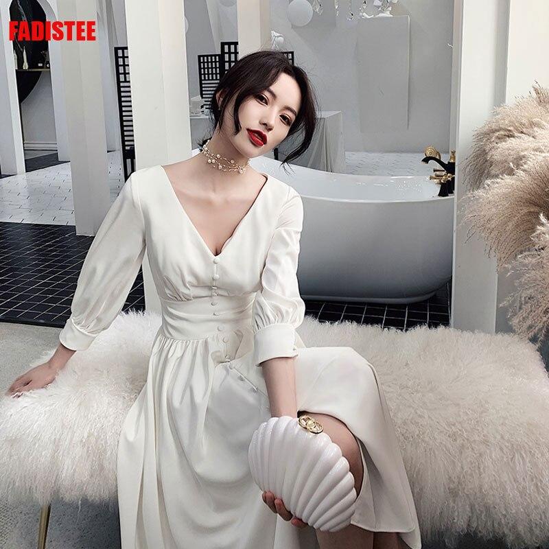 Musulman 3/4 manches robes de soirée de bal Vestido de Festa robe de mariee robe satin robes de soirée courtes petite robe blanche