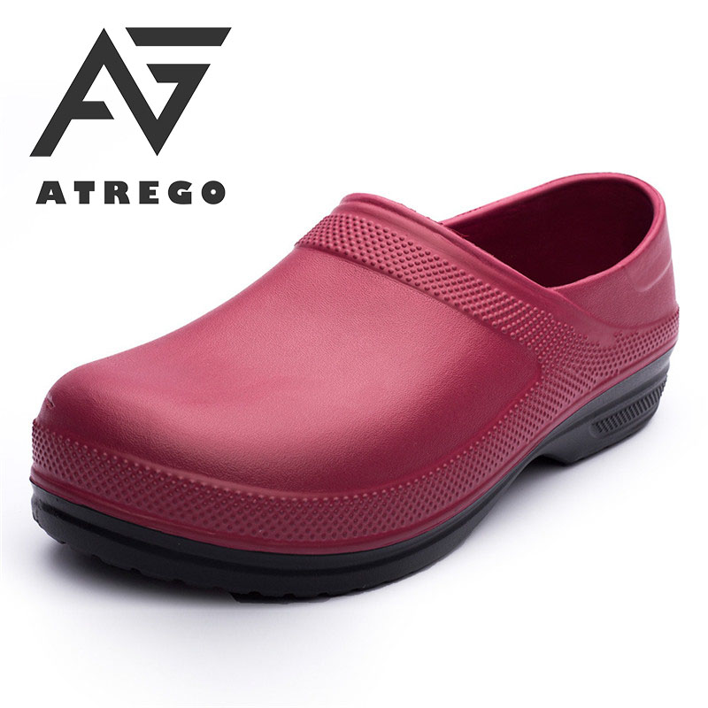 AtreGo Men Nursing Kitchen Chef Work Shoes Non-Slip Light Waterproof Multifunctional Restaurant Garden Safety Work Medical Shoes