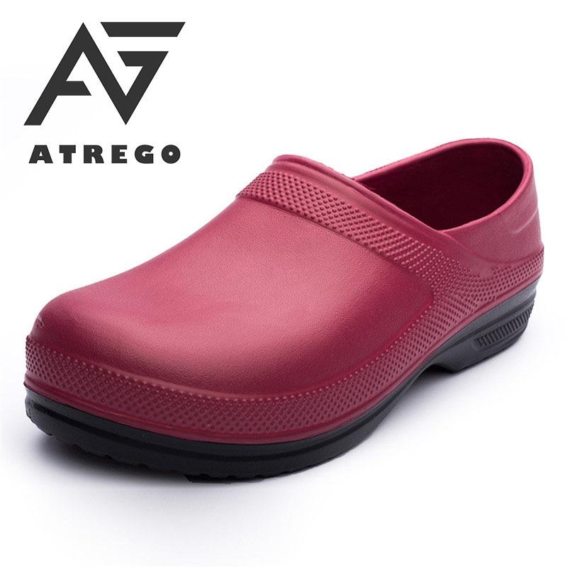 AtreGo Men Nursing Kitchen Chef Work Shoes Non-Slip Light Waterproof Multifunctional Restaurant Garden Safety Work Medical Shoes