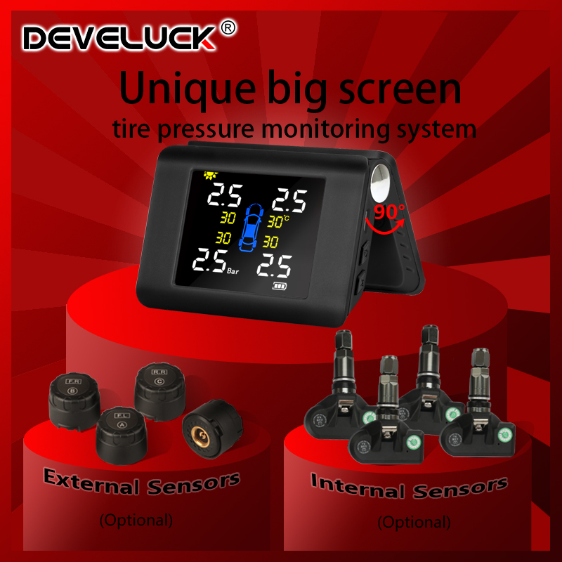 TPMS Car Tire Pressure Alarm Monitoring System Big Screen Wireless Solar Power charge tpms 4 Built-in or External Auto Sensor
