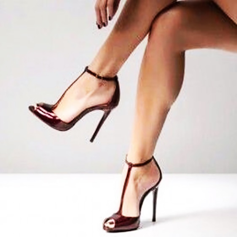 Peep Toe T Strap Pumps Burgundy High Heel Stiletto Ankle Strap Cut Out Solid Dress Ladies <font><b>Shoes</b></font> Cover Heel Custom Made Sandals image