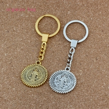 20pcs/lots Keychain Saint St Benedict de Nursia pattern Medal Charms Pendants Key Ring Travel Protection DIY Jewelry A-556f