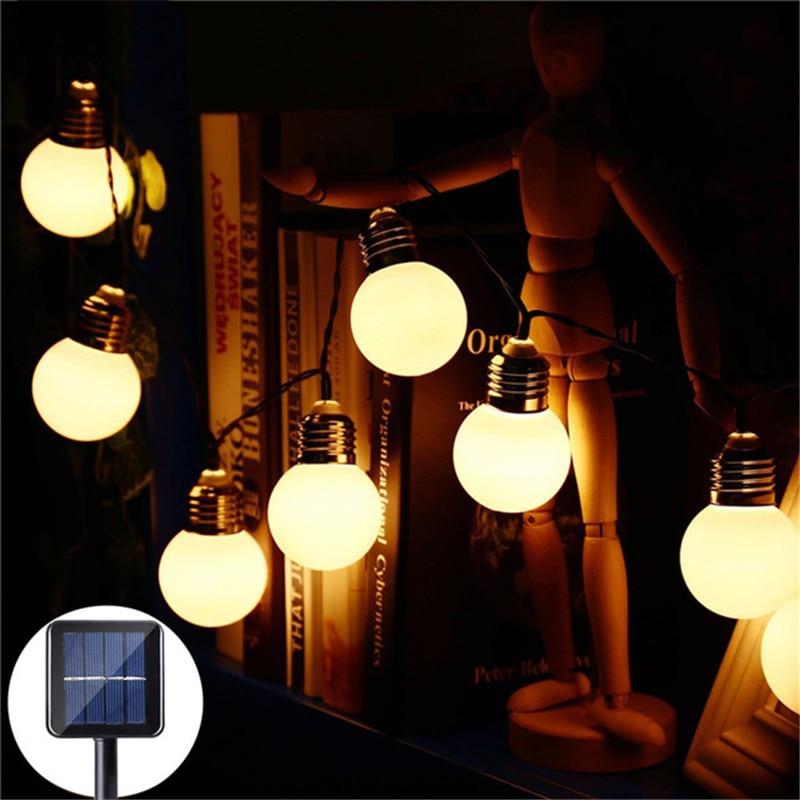 3.5m/5m 10/20LED Bulb Solar String Light Waterproof Home Garden Courtyard Restaurant Balcony Decorative Lighting