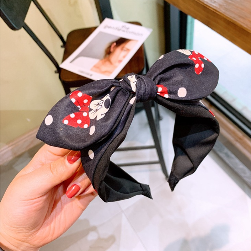 Disney Women Headband Baby Minnie Mouse Hair Accessories For Girls Children Kids Fashion Diadema Elastic Hair Bands Bows Gift