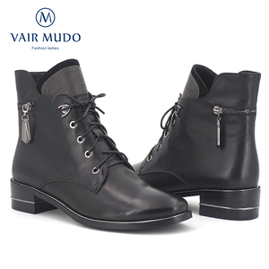 Image 2 - VAIR MUDO2020 Autumn Ankle Boots Women Shoes High Quality Cow Leather  Elegant Round Toe Low Heels classic lady Boots Shoes  DX3