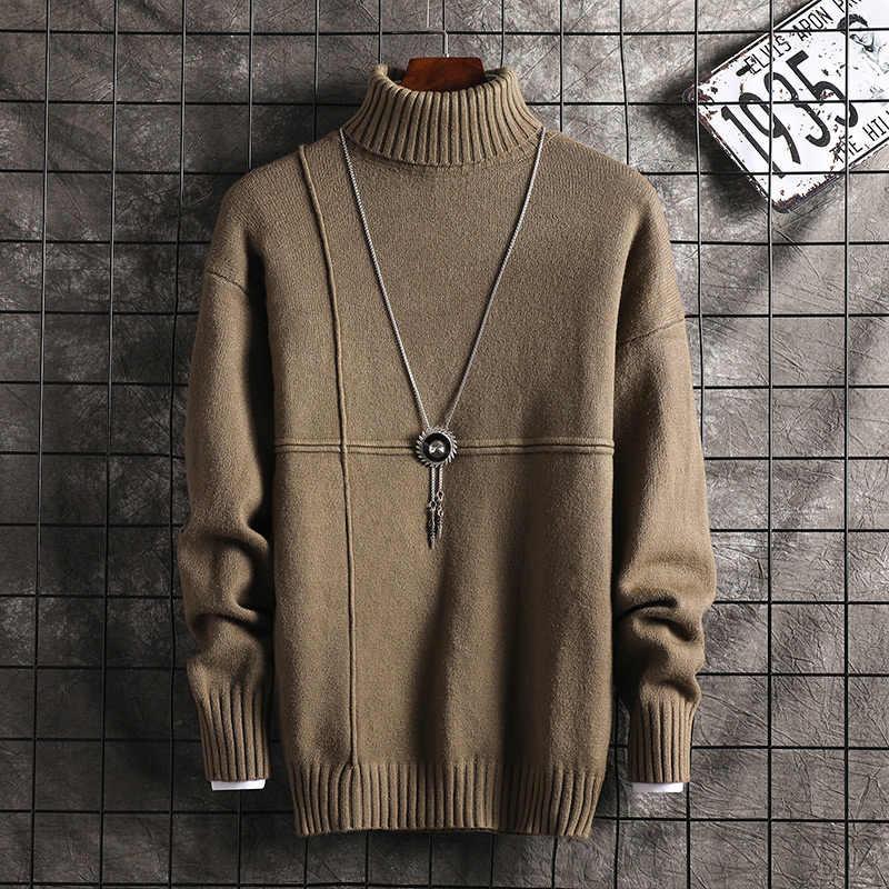 New fashion męska dzianinowa klapa z długim rękawem golf z golfem jednokolorowy zwykły sweter dla mężczyzn zimowy na szyję