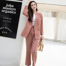 Autumn Women Pant Suits Double Breasted Notched Collar Jacket Blazer & Sashes Pant Female Work Suits 2020 DF512(China)