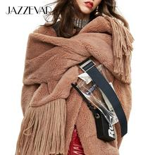JAZZEVAR 2020ฤดูหนาวใหม่ผ้าพันคอขนสัตว์Teddyกว้างขึ้นหนาตุ๊กตาผ้าพันคอ